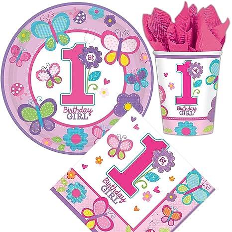 32 teiliges Set * 1, cumpleaños de chica * Con platos + + vasos y servilletas de cumpleaños para niños // Platos Fiesta primer cumpleaños y fiestas de ...