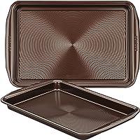 Circulon Nonstick Bakeware Cookie Pan Baking Sheet Set, Chocolate Brown