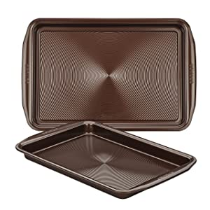 Circulon Nonstick Bakeware Cookie Pan Baking Sheet Set, Chocolate Brown