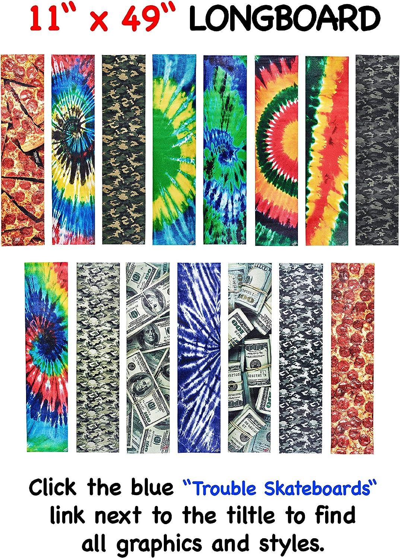 L08 Trouble 11 x 49 Longboard Grip Tape Skateboard Griptape Sheet Bubble Free Tie Dye