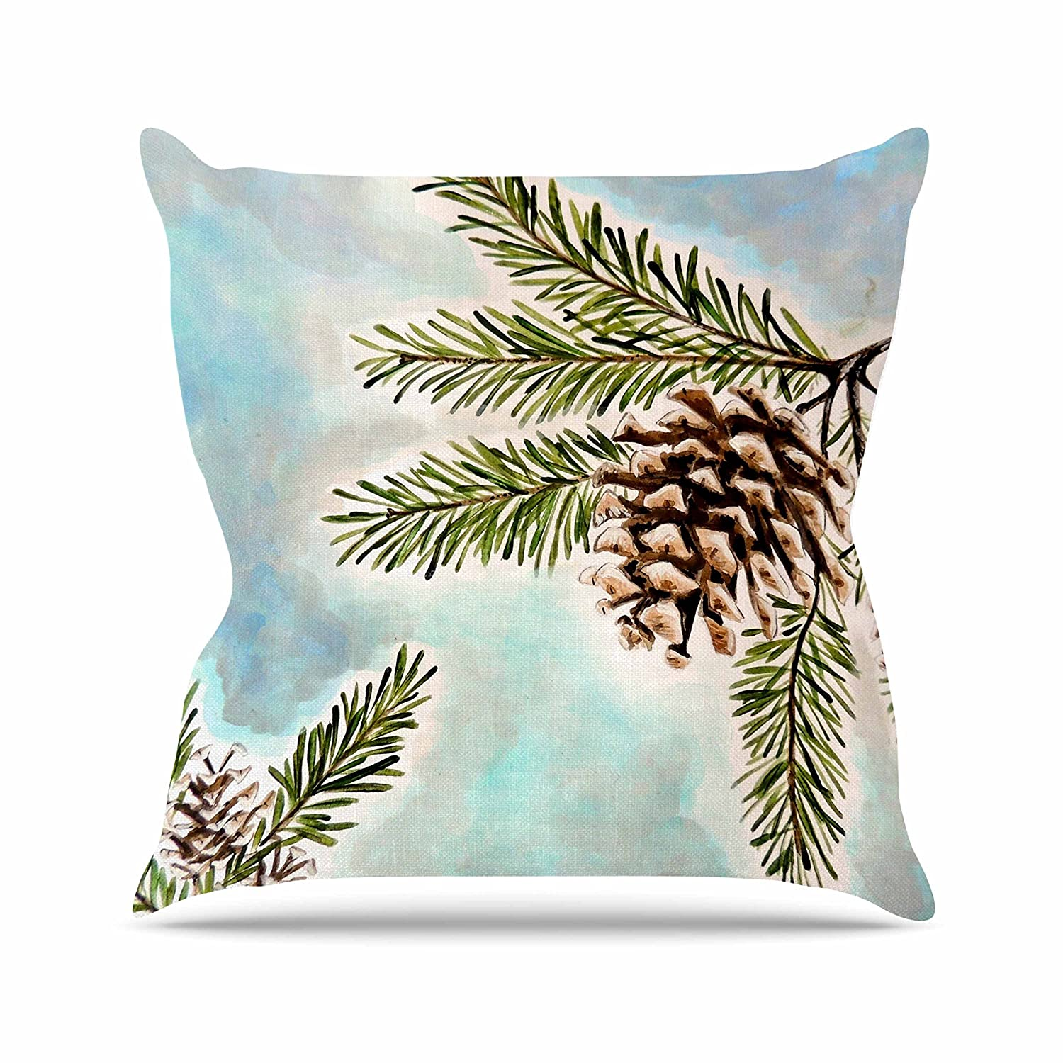 16 by 16 Kess InHouse Christen Treat Pinecones and Sky Blue Brown Throw Pillow