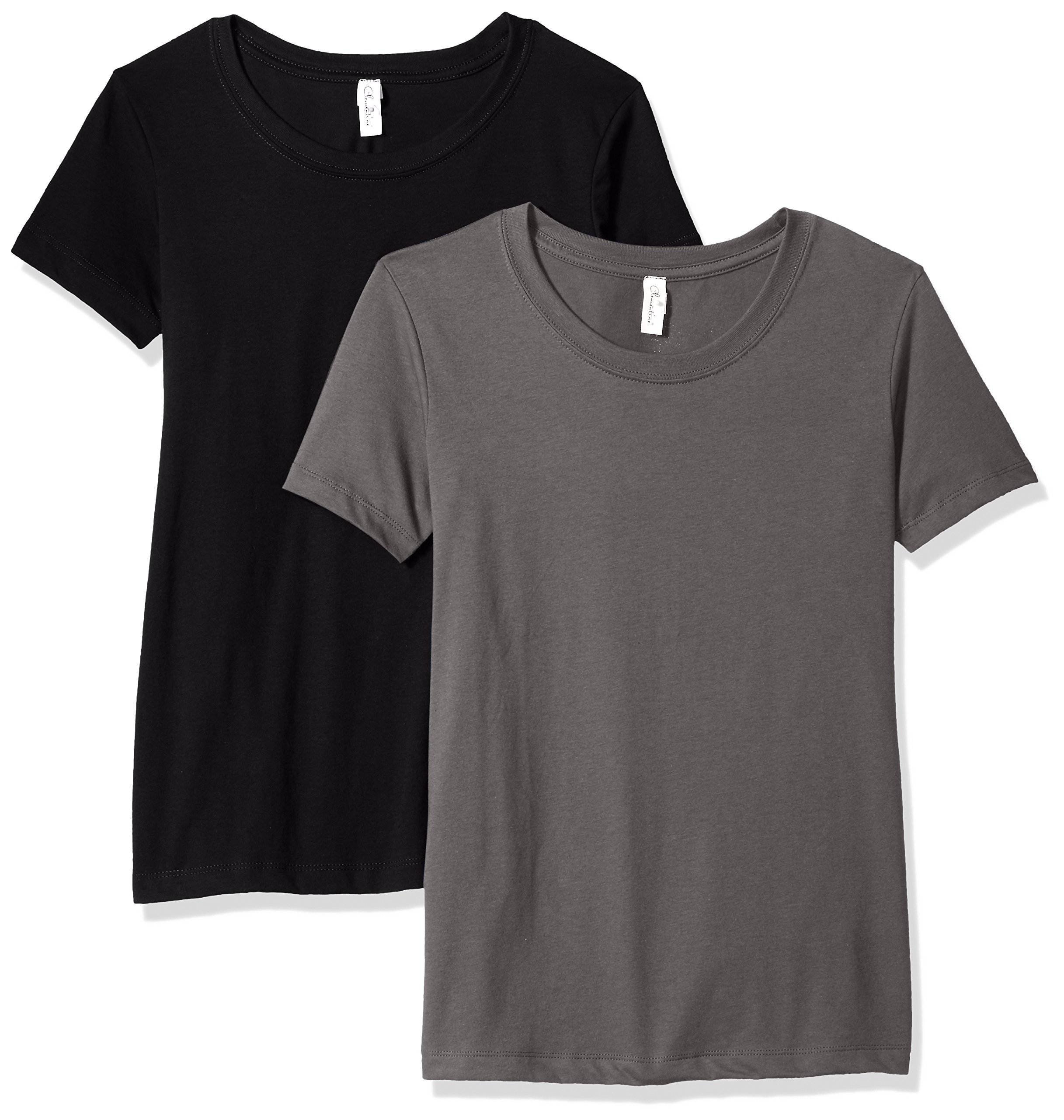 Clementine Apparel Women's Petite Plus Ideal Soft and Trendy Crew Neck Tee (Pack of 2), BlackDark Gray, S