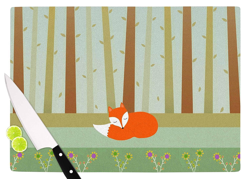 KESS InHouse Cristina bianco DesignSleeping Fox Green Illustration Cutting Board 11.5 x 15.75 Multicolor