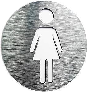 BSYDESIGN Aluminium Male and Female Bathroom Sign - Restroom - Toilet Plaque - Door Signs -Signs for Business - Gender WC Symbol - Unisex Bathroom Door Decoration (Female)