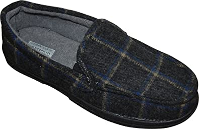 Mens Perry Ellis Mens Plaid Moccasin Slippers Wholesaler Size 45