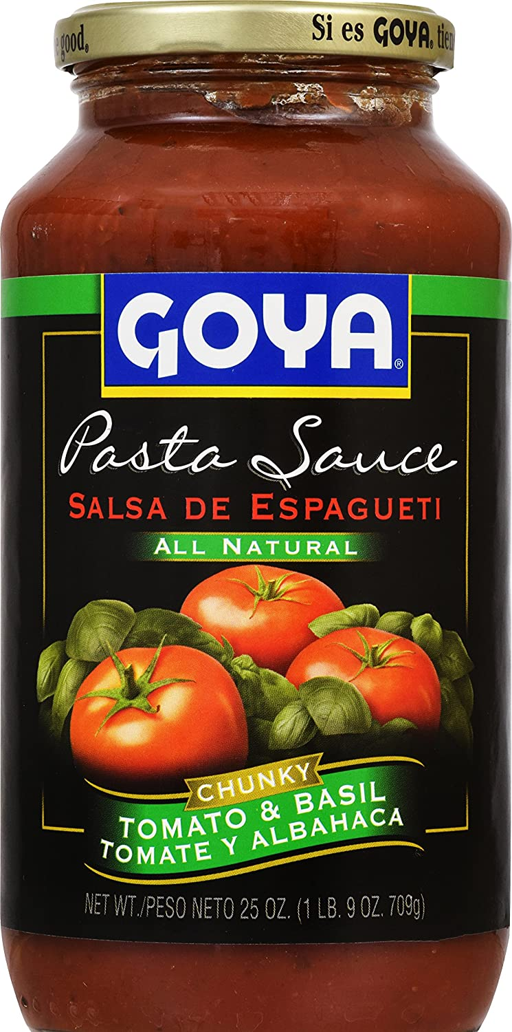 Amazon.com : Goya Foods Pasta Sauce All Natural Chunky, Tomato & Basil, 25 Ounce (Pack of 12) : Grocery & Gourmet Food