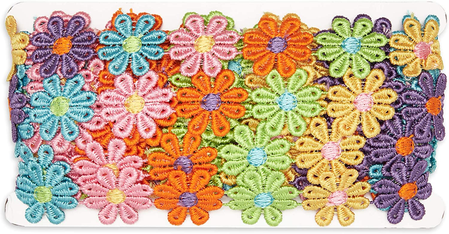 1 in x 7.5 Yards Bright Creations Embroidered Daisy Flower Lace Sewing Trim