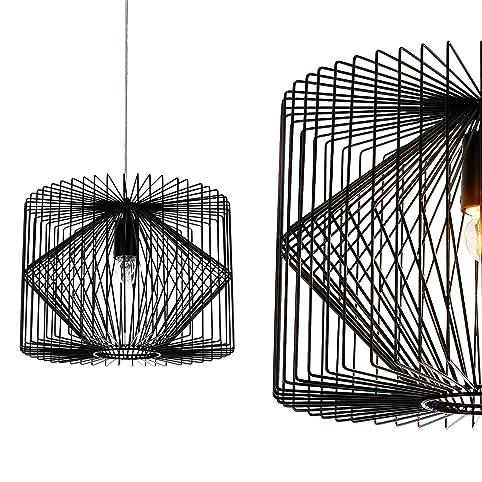luxpro deckenleuchte schwarz metall pendelleuchte gitter esszimmer deckenlampe vintage retro hngeleuchte lampe - Beleuchtung Wohnzimmer Lux