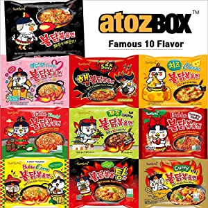 [10pack] 10 Flavor Samyang Buldak Chicken Stir Fried Korean Ramen Original Spicy, 2x Spicy, Carbonara, Curry, Corn, Jjajang, Kimchi, Tomato Pasta, Spicy Stew, & Cheese. Perfect for Spicy Food Enthusiasts. The spicy ramen in Asia