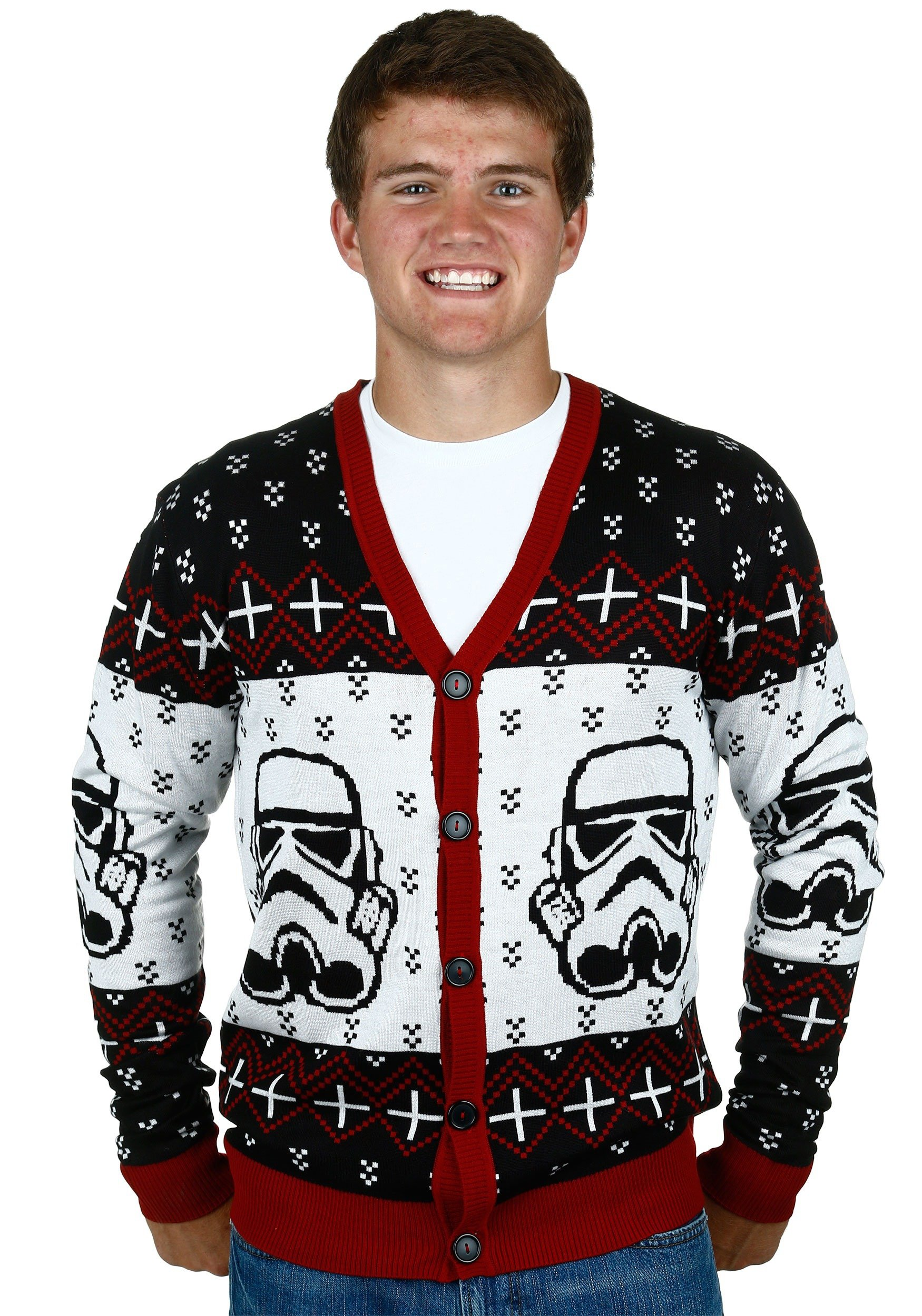 Star Wars Stormtrooper Men's Ugly Sweater Cardigan 2X