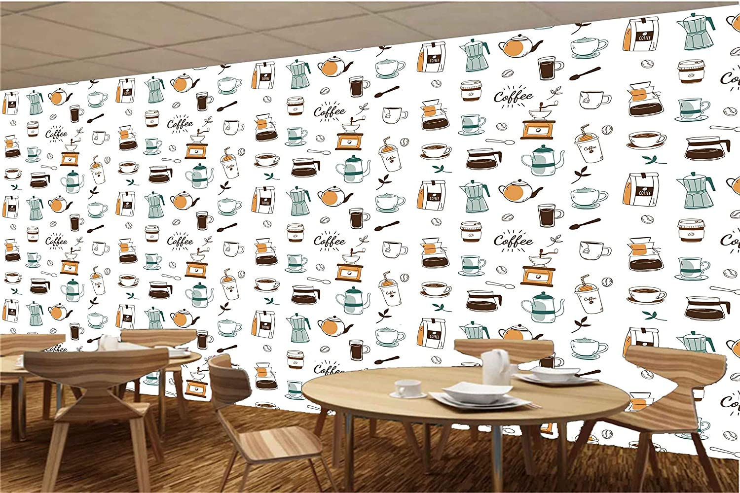 Buy Avikalp Self Adhesive Arw0143 Coffee Maker Leaves Seeds Packing Bags Cups Spoons Pots Hd Wallpaper For Coffee Shop 60cm X 914cm Online At Low Prices In India Amazon In