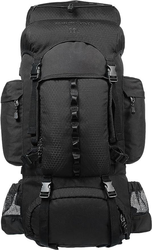 Amazonbasics Internal Frame Hiking Backpack With Rainfly 55 L Black Amazon Co Uk Sports Outdoors