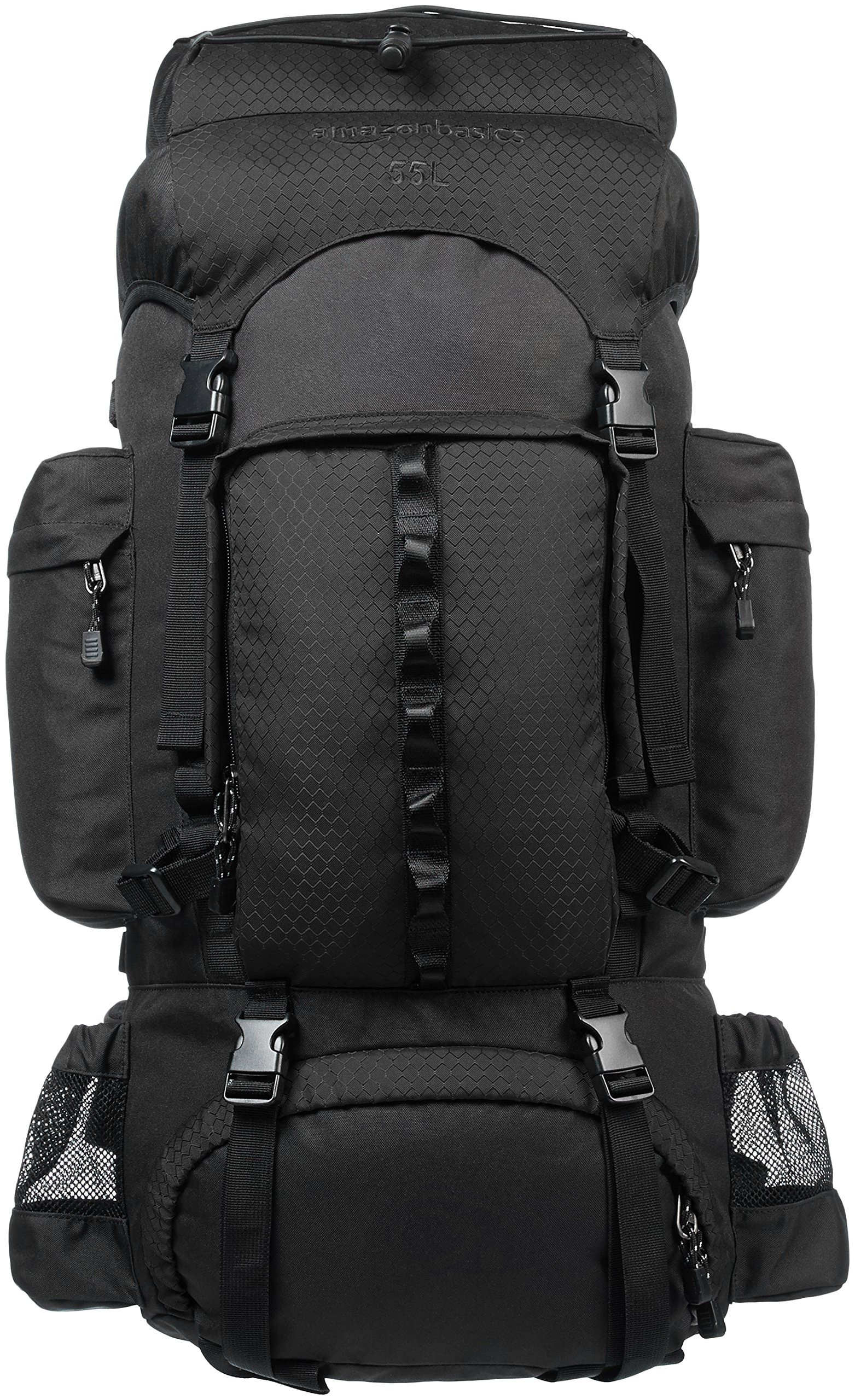 AmazonBasics Internal Frame Hiking Camping Rucksack Backpack with Rainfly - 15 x 6.5 x 30 Inches, 55 Liters, Black by AmazonBasics