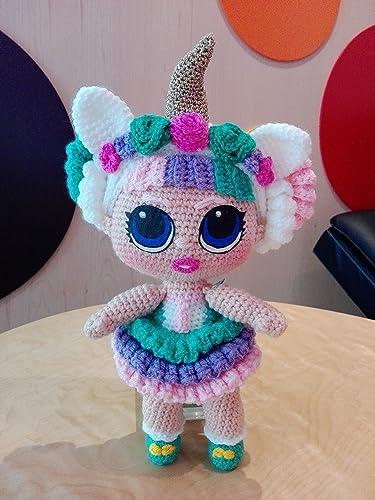 Bambola Tipo Lol Unicorn Amigurumi Fatto A Mano Ad Uncinetto In