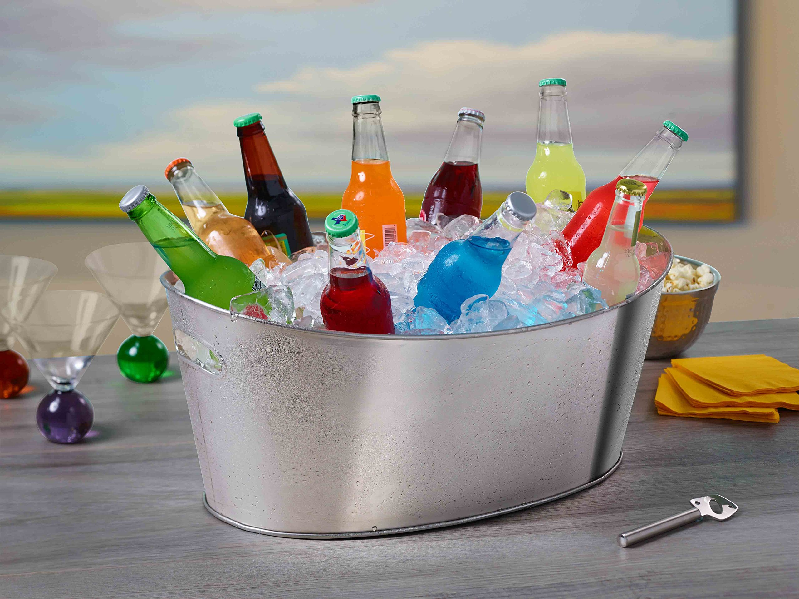 BirdRock Home Oval Party Beverage Tub | Holds Soda, Beer, Wine and Champagne | Stainless Steel