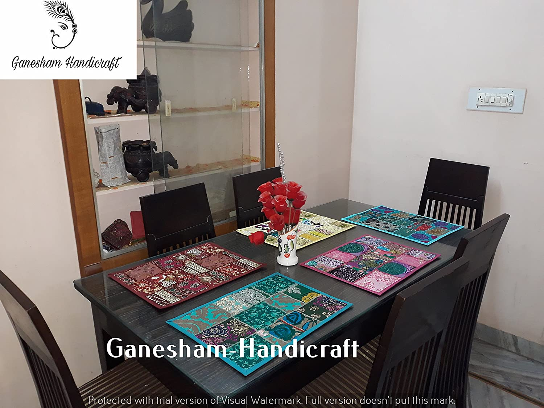 Ganesham handicraft-インドハンドメイド新しいヴィンテージパッチワークコットンテーブルマット、テーブルランナー、テーブルクロス、キッチン&テーブルリネンハンドメイドテーブル、Place Matデスクテーブルパッド(セットof 5 Piece)   B077GY1GSX