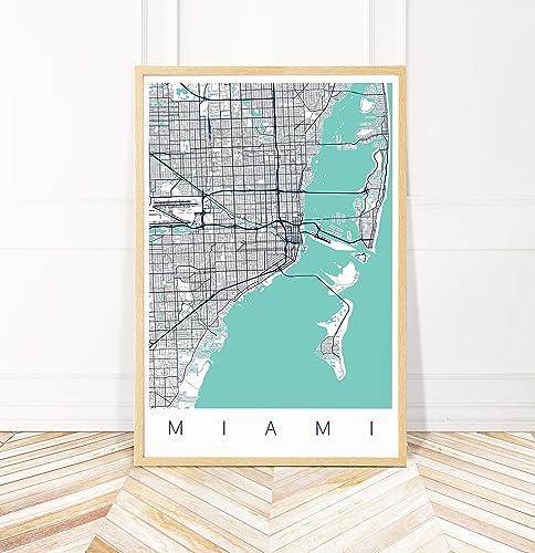 Amazon Com Miami Map Art Print Map Of Miami Florida Series Ii