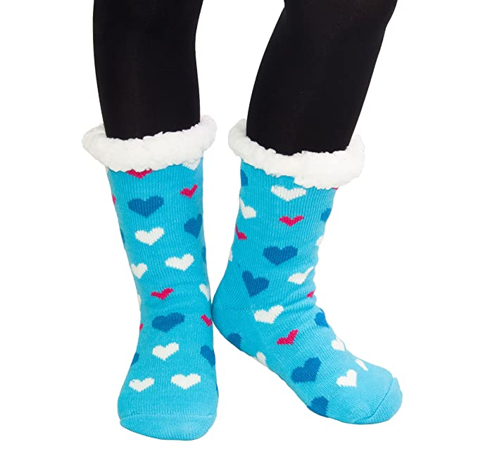 HapiLeap - Calcetines de estar por casa - para mujer Azul Heart (Blue) Talla