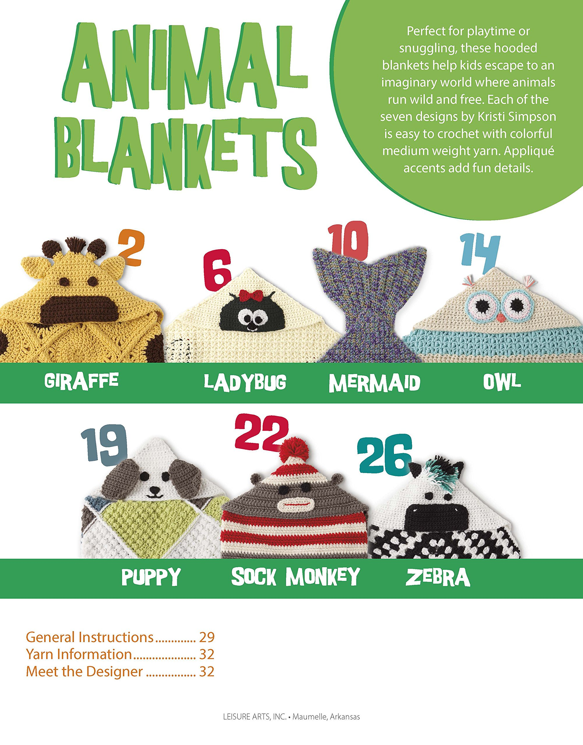 animal blankets crochet leisure arts 6996 kristi simpson