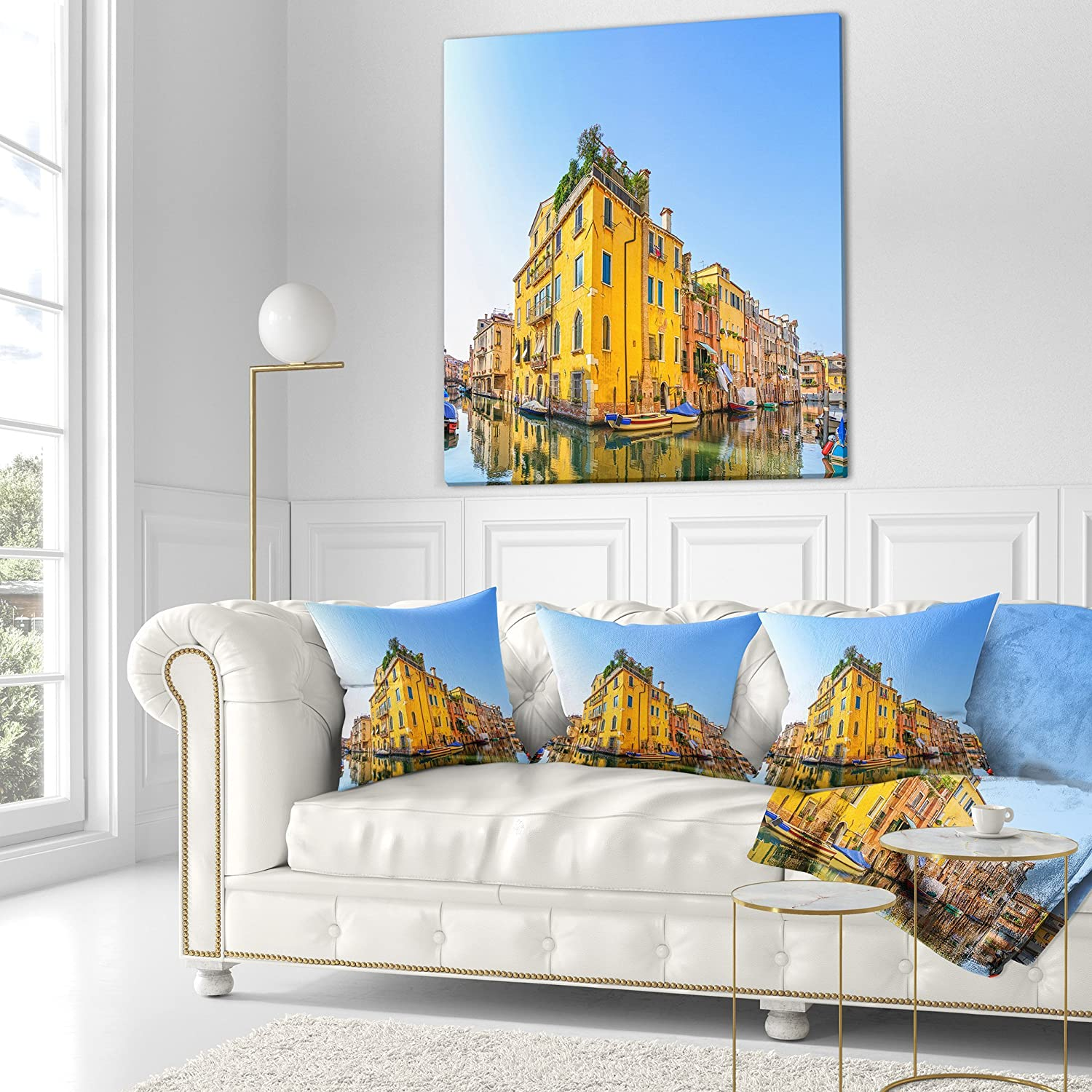 Designart CU13071-18-18 Venice Cityscape Water Canal Abstract Cushion Cover for Living Room Sofa Throw Pillow 18 x 18