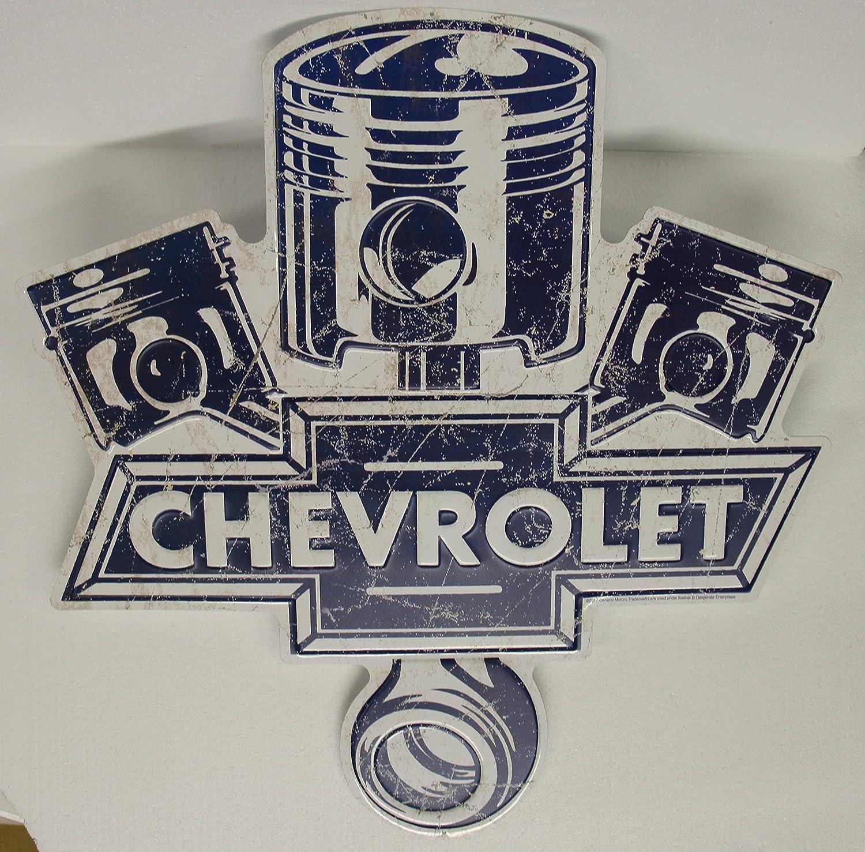 Chevrolet Metal Sign die cut embossed Large vintage style piston logo 24.5 x 23.5 weathered look chevy