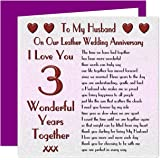 My Husband 3rd Wedding Anniversary Card