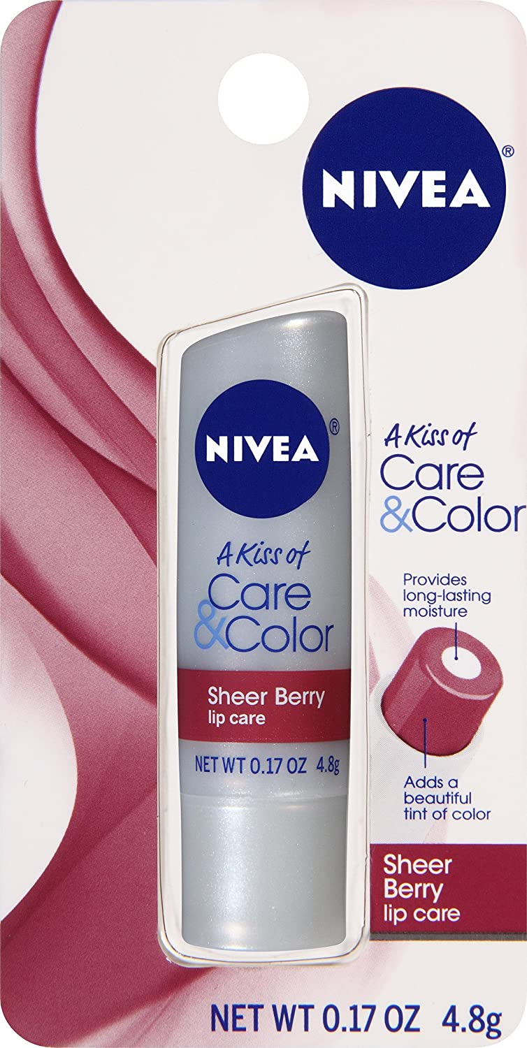 NIVEA Care & Color Sheer Berry Lip Care 0.17 Ounce Carded Pack