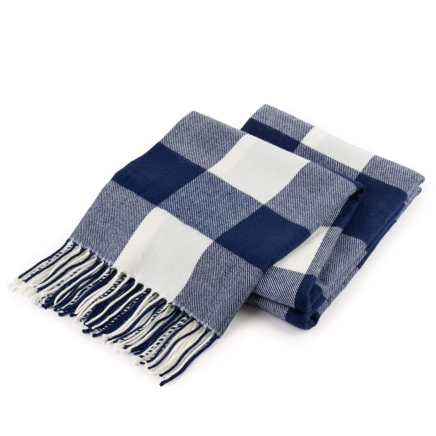 """Good MANORS Buffalo Check Plaid Throw Blanket, Ultra Lightweight for Summer, Modern Farmhouse Decor for Couch, Bed, Living Room, Outdoor, Woven Soft Faux Cashmere, 50"""" x 60"""", Navy Blue & Off-White"""