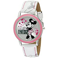 Kids' MN1022 Minnie Mouse Watch with White Leather Band