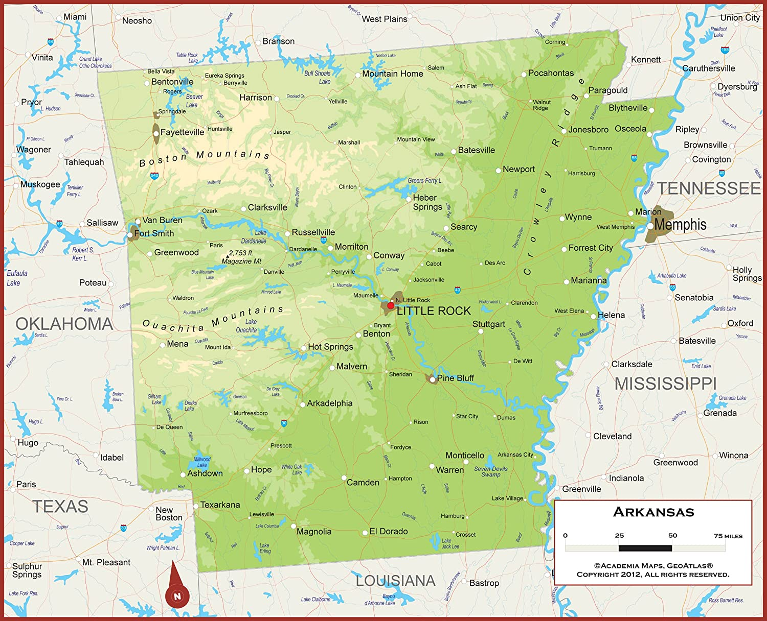 Amazon Com 36 X 29 Arkansas State Wall Map Poster With Counties Classroom Style Map With Durable Lamination Safe For Use With Wet Dry Erase Marker Brass Eyelets For Enhanced Durability Office Products