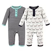 Hudson Baby Unisex Baby Coveralls/Union Suits, Whales, 3-6 Months (6M)