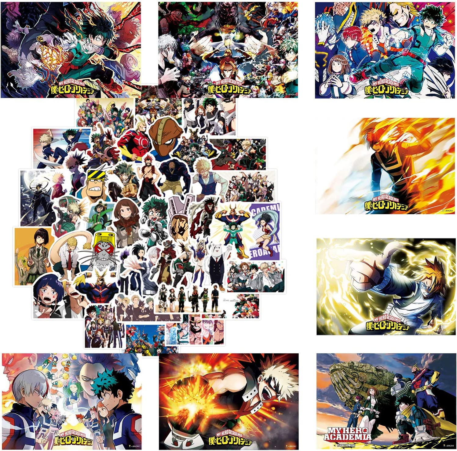 "My Hero Academia Wall Décor MHA Posters Anime Wall Posters for Fans 8 Pack MHA Posters 16.5"" x 11.5"" 50 Pieces MHA Stickers"