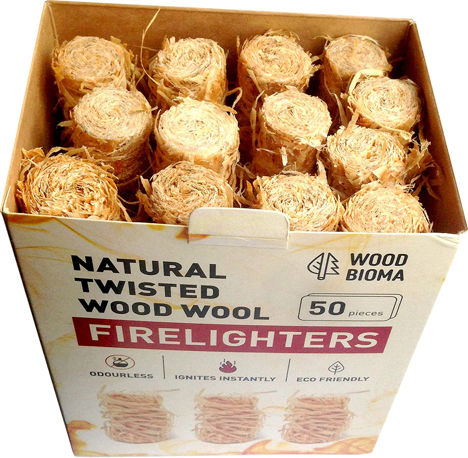 Natural Fire starter Wood Wool Firelighters 50 pcs Charcoal starter Duraflame Kamado Joe Big Green Egg Kindle Fire Fireplace Primo Smoker BBQ Pizza oven, by Woodbioma