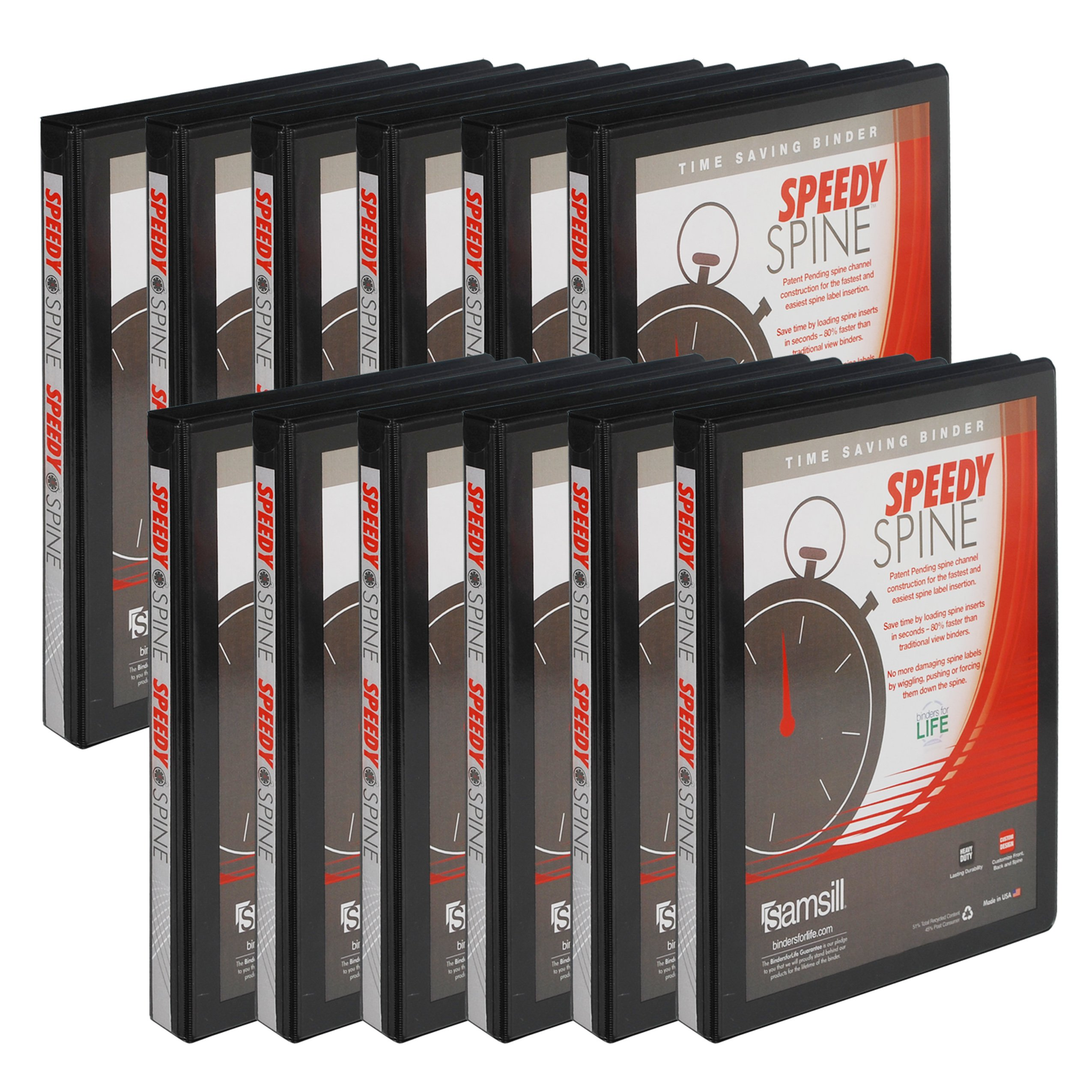 Samsill Speedy Spine Time Saving / Easy Spine Label Inserting 3 Ring View Binder, .5 Inch Round Ring, Customizable Clear View Cover, Black, Bulk Binders - 12 Pack