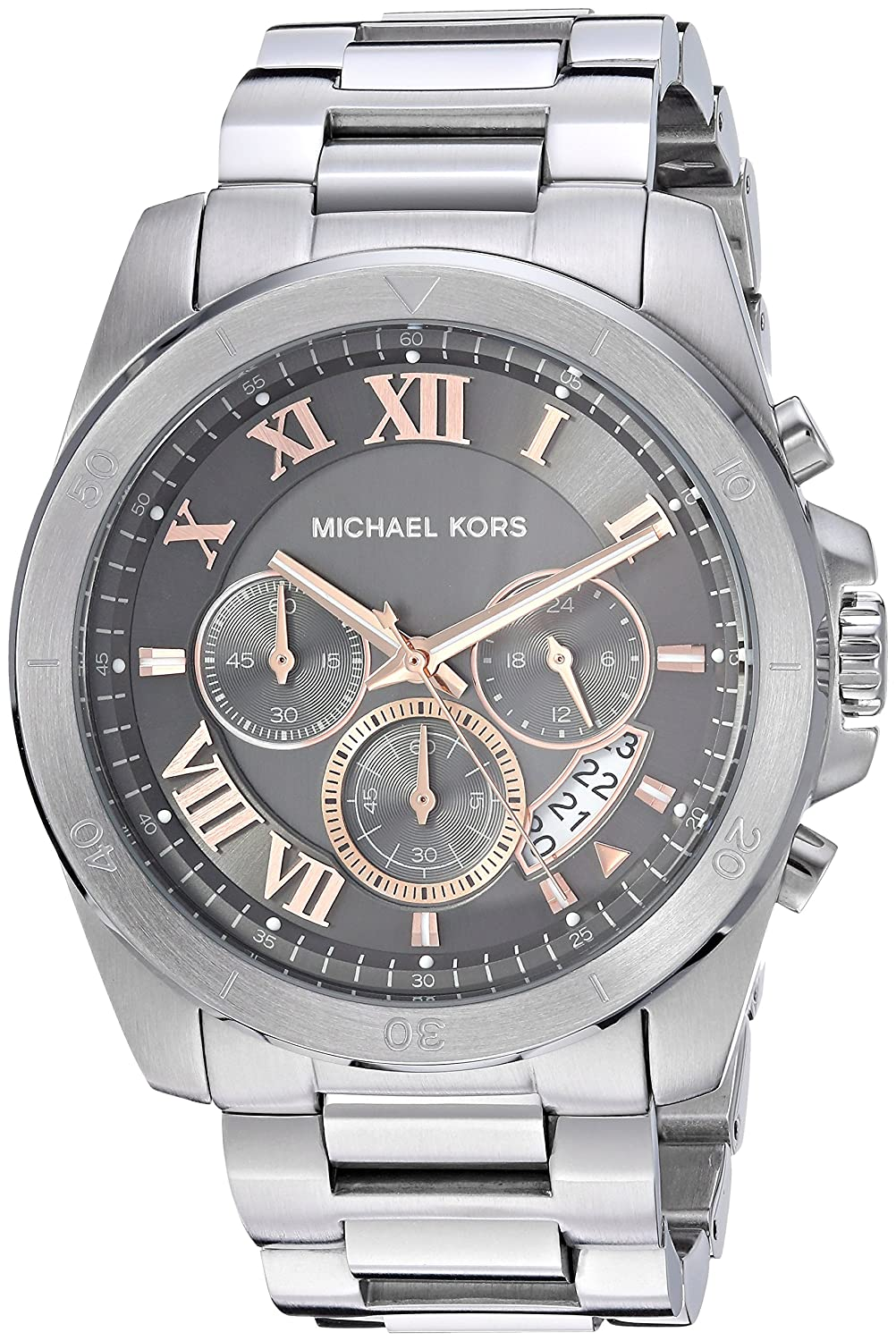 Amazon.com: Michael Kors Mens Brecken Analog-Quartz Watch with Stainless-Steel Strap, Silver, 23.5 (Model: MK8609: Watches