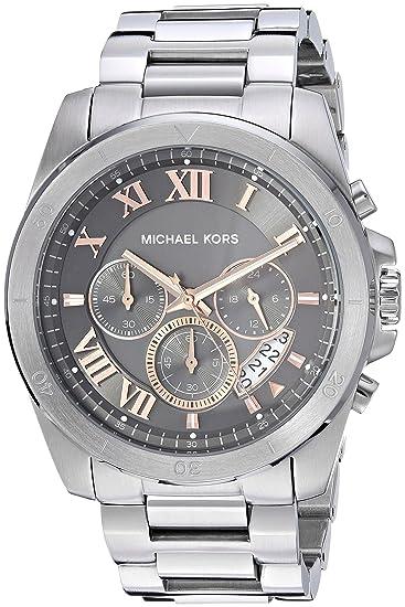 Amazon.com: Michael Kors Mens Brecken Analog-Quartz Watch with Stainless-Steel Strap, Silver, 23.5 (Model: MK8609: Watches