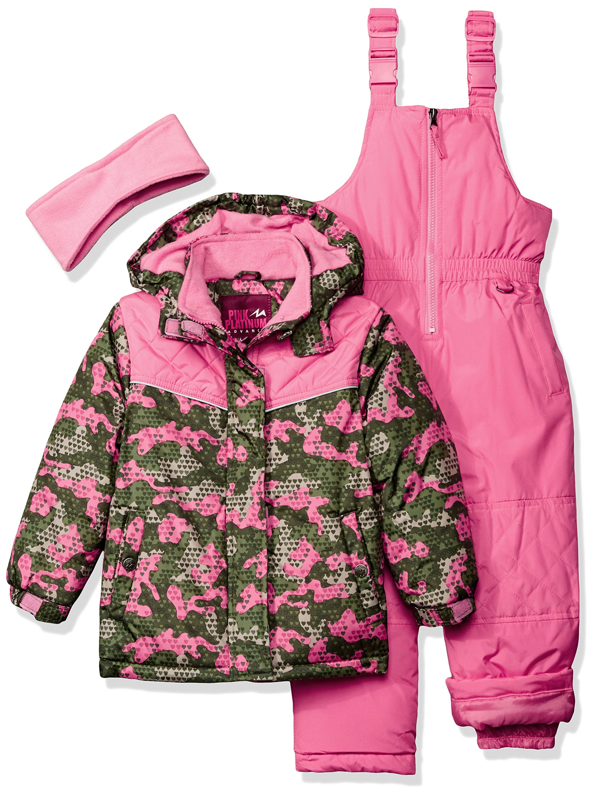 Pink Platinum Little Girls' Camo Heart Print Better Snowsuit, Olive, 4