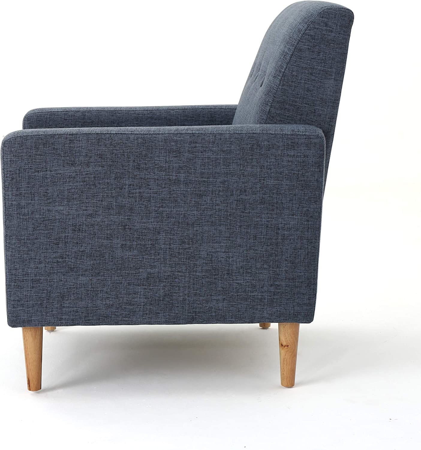 Christopher Knight Home Sawyer Mid-Century Modern Fabric Club Chair, Dark Blue / Natural