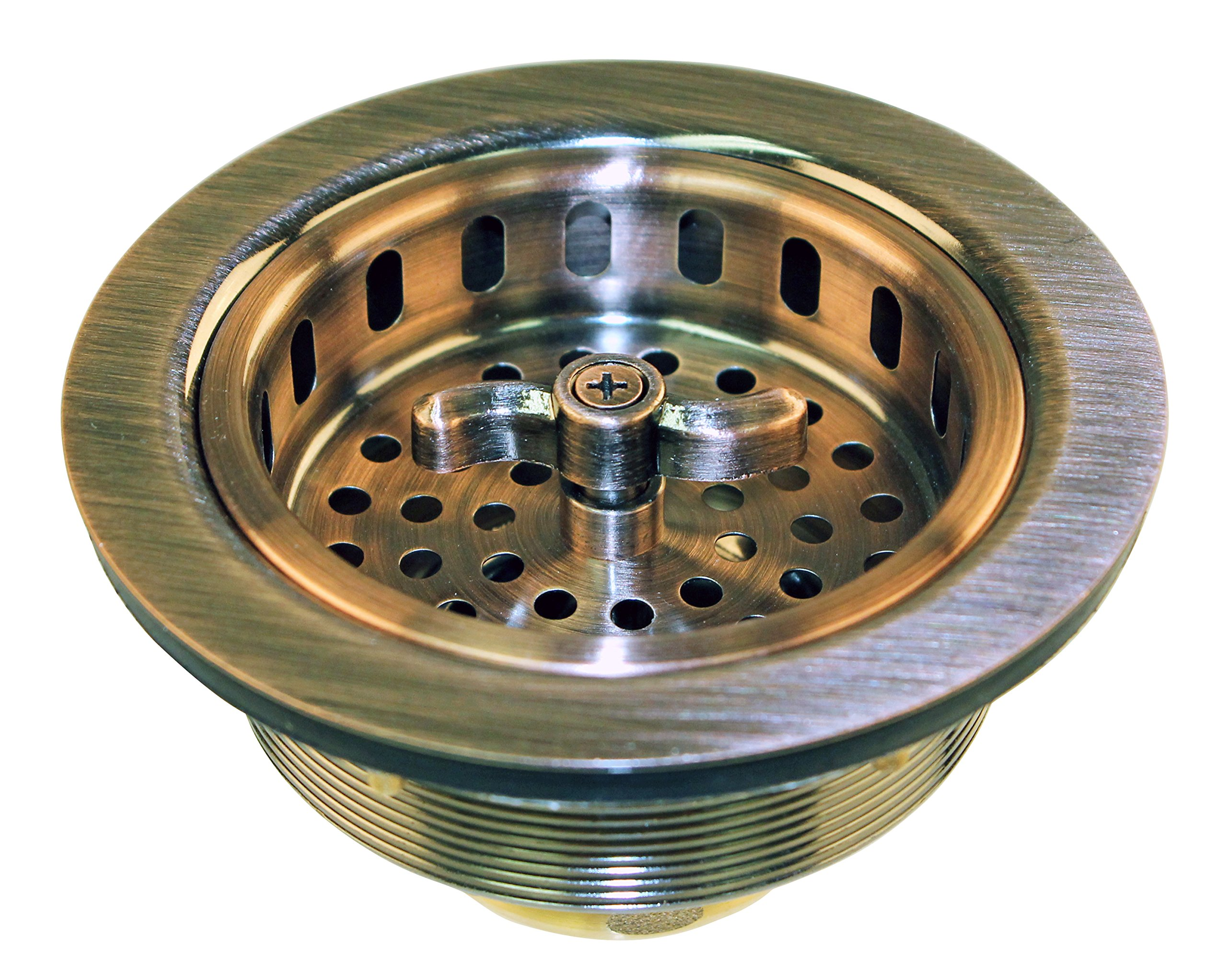 Westbrass Wing Nut Style Large Kitchen Sink Basket Strainer, Antique Copper, D213-11