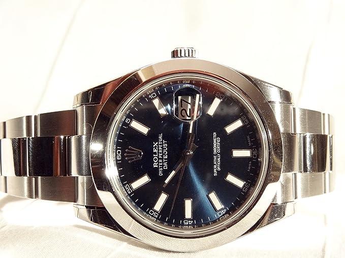NUEVO Rolex Datejust II Acero Inoxidable Azul Sticks Oyster Reloj para hombre 116300 blio: Amazon.es: Relojes