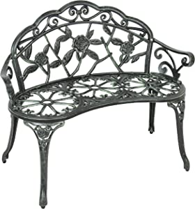 Best Choice Products Floral Rose Accented Metal Garden Patio Bench w/ Antique Finish - Black