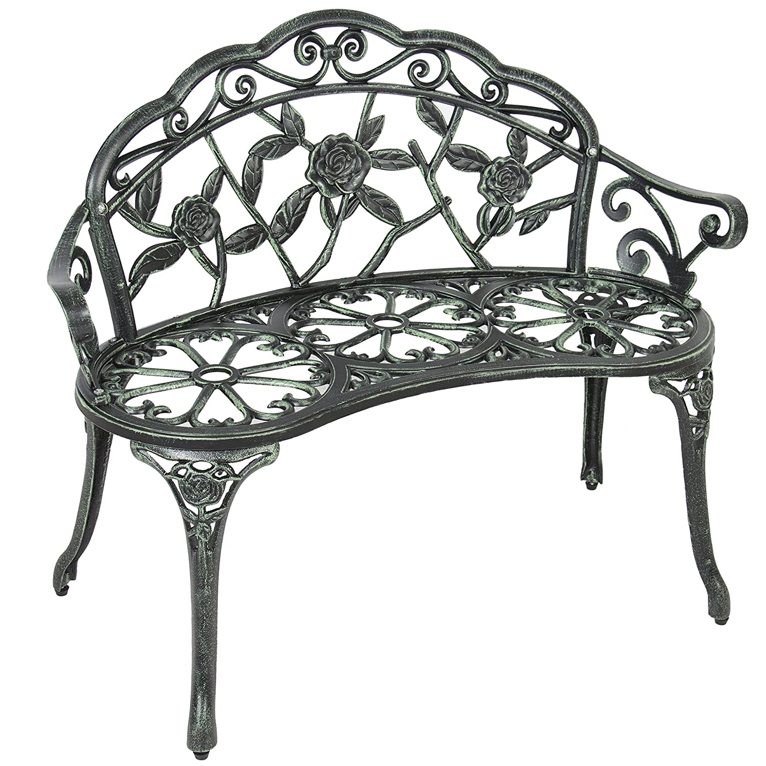 points garden bench handmade english buy roll seater benches wrought verdigris focal top iron metal img