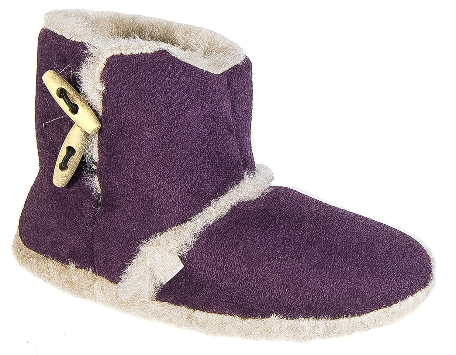 Coolers Womens Girls Purple Furry Lined Toggle Ankle Booties Snug Slippers