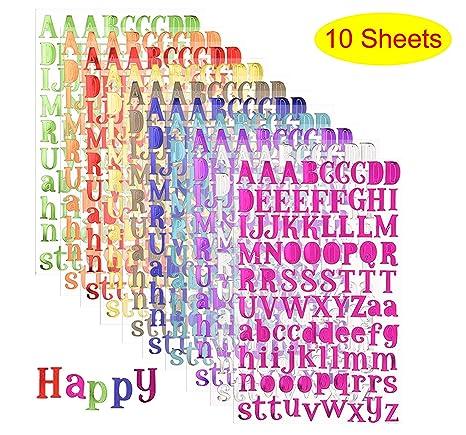 Amazon.com: 10 hojas de pegatinas autoadhesivas con letras ...