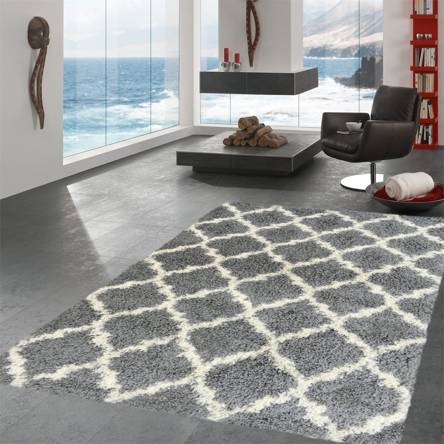 Ottomanson Ultimate Shaggy Collection Moroccan Trellis Design Shag Rug Contemporary Bedroom and  Living room Soft Shag Rugs, Grey, 5