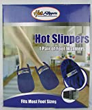 Foot Warmers Reinforced Microwavable Fleece Hot Slippers (Blue)