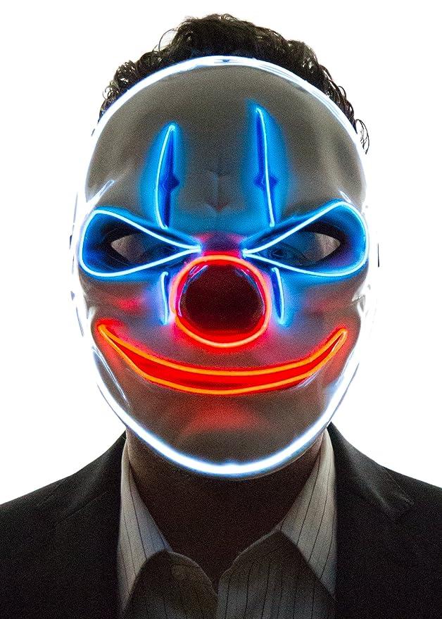 Máscara LED de payaso para disfraz halloween