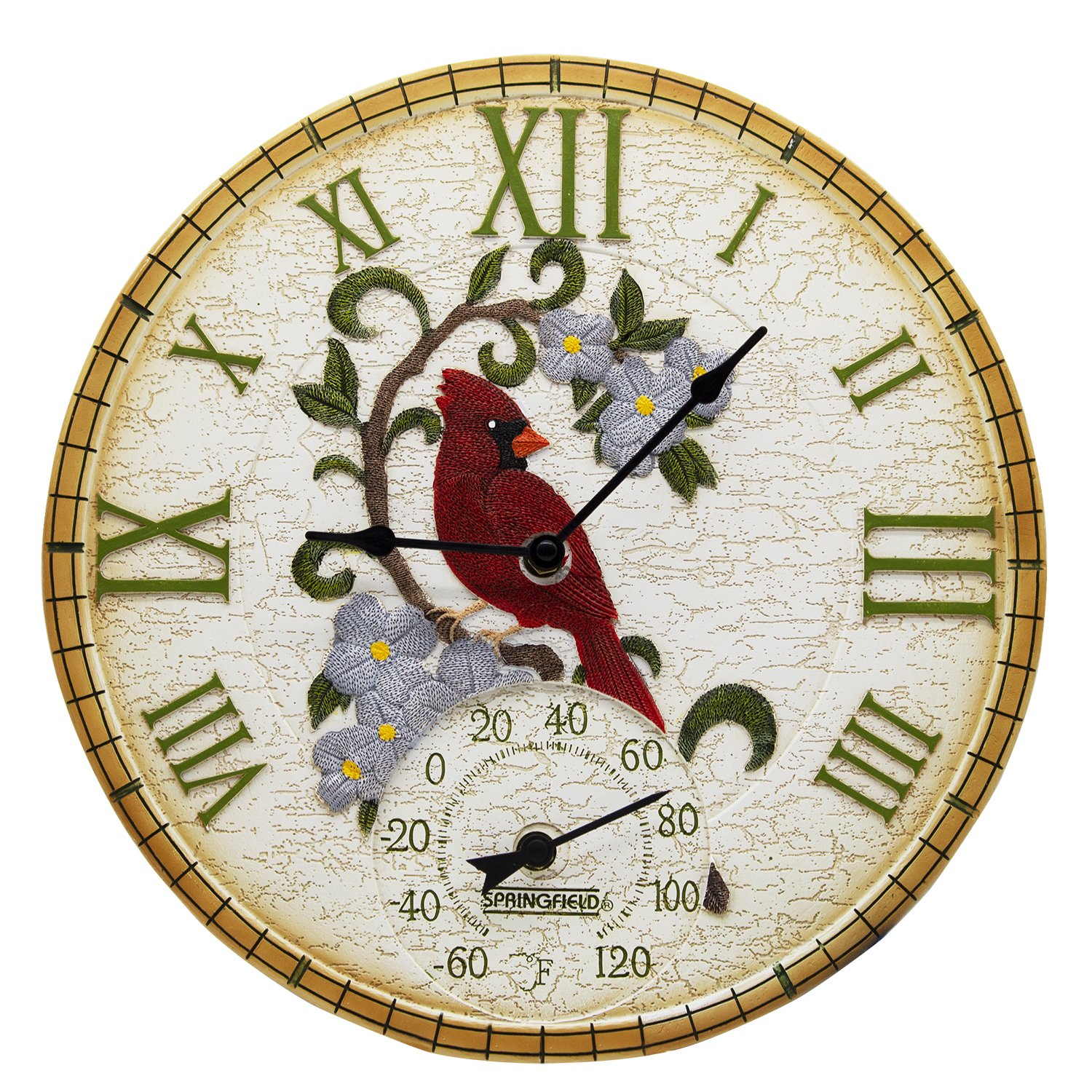 Taylor Precision Products 92673 Poly Resin Cardinal Clock with Thermometer, 14'' Dial, Multicolored