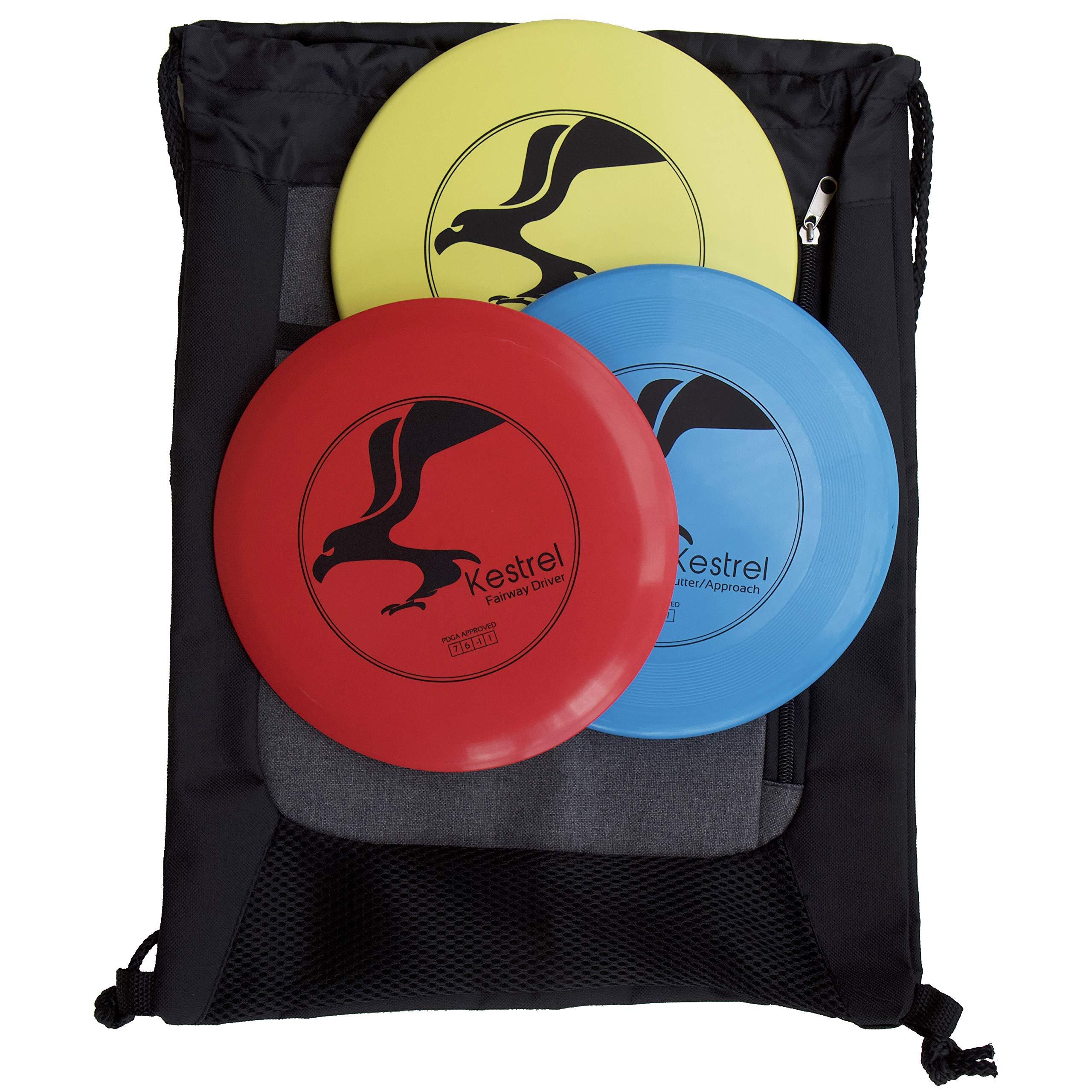 Kestrel Disc Golf Beginner Set Bundle 3 Discs and Bag Includes Fairway Driver, Mid-Range and Putter by Kestrel Sports