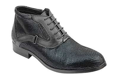 44760a3c150b7b Xposed Mens Real Leather Black Snake Croc Skin Effect Lace up   Zip Smart  Casual Ankle
